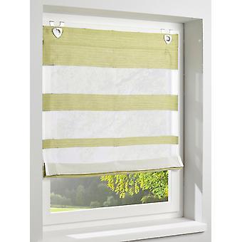 Heine casa Raffrollo con rayas patrón ojales verde-/offwhite HxB 140x120 cm