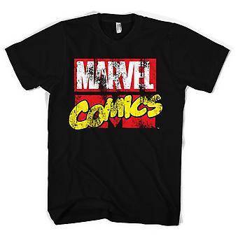 Men's Distressed Marvel Comics Logo Black T-Shirt