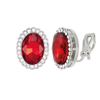 Evige samling grevinne Oval lys Siam røde krystallklar sølv Tone Stud klipp på øredobber