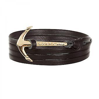 Holler Mosley-Gold-Polierter Anker/Schwarzes Leder-Armband HLB-02GDP-L13