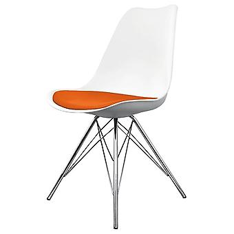 Fusion Living Eiffel Inspired White And Orange Dining Chair With Chrome Metal Legs
