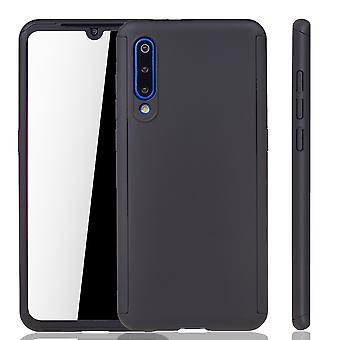 Xiaomi Mi 9 Funda de protección del teléfono cubierta completa del tanque de protección del cristal negro