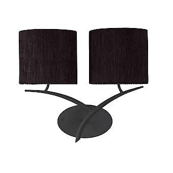 Mantra Eve muur lamp 2 licht E27, Antracite met zwarte ovale tinten