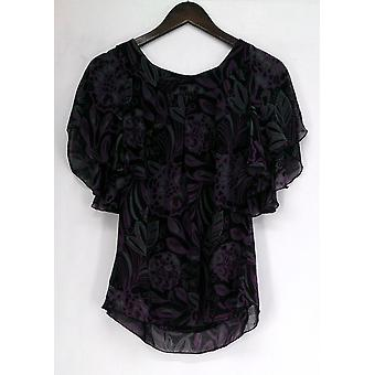 Julie Chaiken for Anonymity Printed Cascade Top Purple / Black A209375
