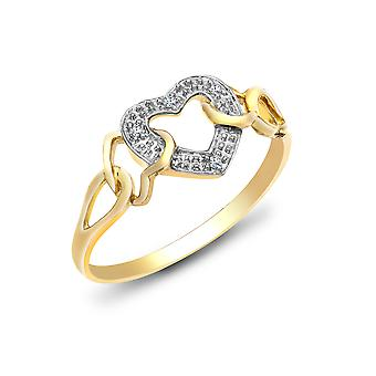 Jewelco London Ladies Solid 9ct Yellow Gold Pave Set Round H I2 0.02ct Diamond Interlocked Love Heart Cocktail Ring 9mm