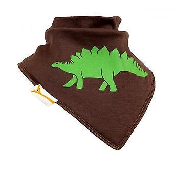 Brown & green stegosaurus bandana bib