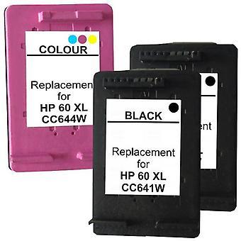 60XL Remanufactured  Inkjet Cartridge Set 2  3 Cartridges