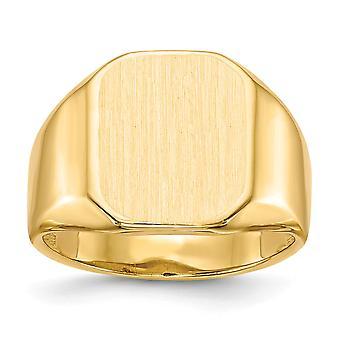 posteriore di 14 k giallo oro aperta Engravable Mens dell'anello di Signet - 6,4 grammi - Dimensioni 10