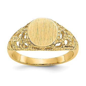 14k Gult Guld Solid Open rygg Graverbar polerad och satin för pojkar eller flickor Fancy Signet Ring Storlek 3