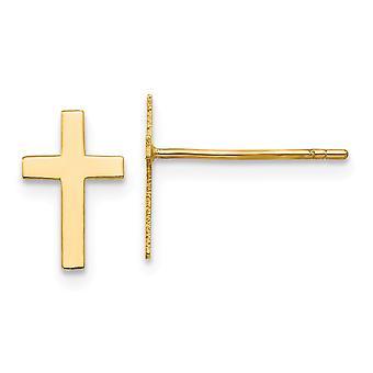 14kイエローゴールドポリッシュポストイヤリングポスト宗教信仰クロスイヤリングは、女性のための10x7mmジュエリーギフトを測定します
