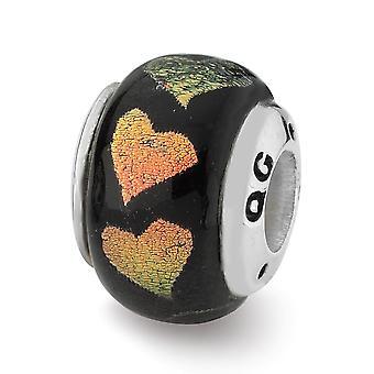925 Sterling Silver Reflektioner Orange Green Love Hearts Dichroic Glass Bead Charm Hänge Halsband Smycken Gåvor till Wo