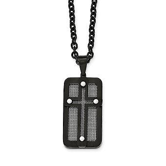 Roestvrij staal gepolijst zwart ip verguld met draad inlay religieuze geloof cross ketting 24,5 inch sieraden geschenken voor Wome