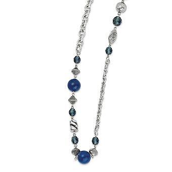 Silber Ton Fancy Hummer Verschluss blau Perle und Kristall 44inch Halskette Schmuck Geschenke für Frauen