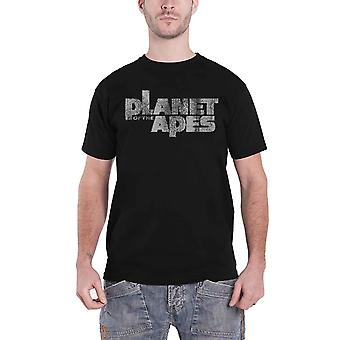 Planet Of The Apes T Shirt Movie Distressed Logo new Official Mens Black