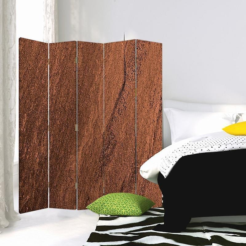 Diviseur de chambre, 5 panneaux, double-sided, 360 rotatable, toile, arbres de liège d'imitation
