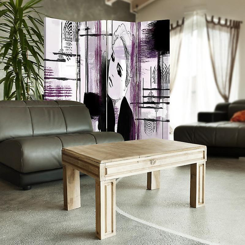 Diviseur de chambre, 4 panneaux, toile, femme dans l'abstraction