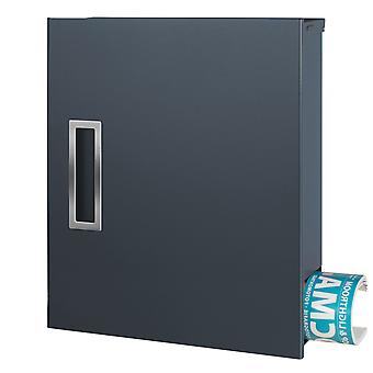 MOCAVI box 135R modern design mailbox with newspaper box and handle in stainless steel anthracite (RAL 7016)