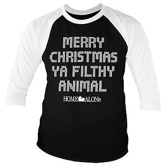 Home Alone Baseball Shirt Merry Christmas Ya Filthy Animal Official 3/4 Sleeve