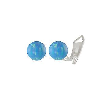 Evig samling solo lyseblå Opal Sterling sølv Stud klipp på øredobber (MM)