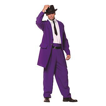 Zoot Suit Purple 1920s 1940s Gangster mafieux Mob hommes Costume unique taille