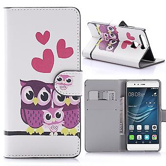 Case For Huawei P9 Owl Couple Pattern
