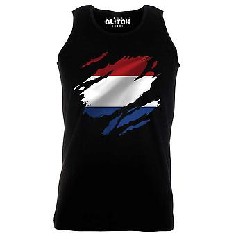 Reality glitch torn netherlands flag mens vest