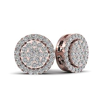 IGI Certified 10k Rose Gold 0.18ct TDW Diamond Cluster Halo Stud Earrings