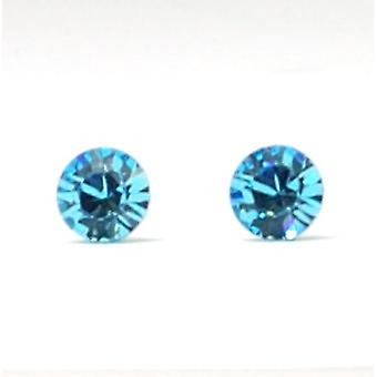 CRYSTAL WORLD Sterling Silver Aqua Stud Earrings Made With Swarovski Crystals