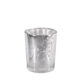 Silver Glass 6.8cm Tealight Holder - Antique Style