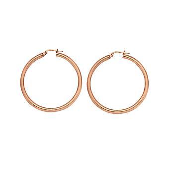 14k oro rosa pulido aro pendientes medidas 3x25mm regalos de joyería para las mujeres - 1.8 gramos