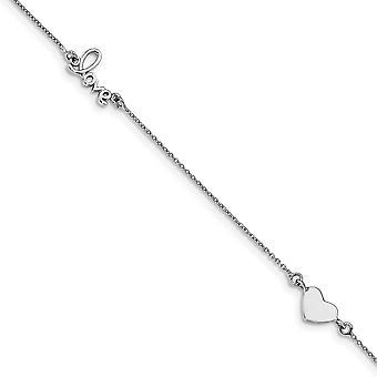 925 Sterling Silver Rhodium pokovované srdce a láska s 1inch ext. Anklet 9 palcov šperky Darčeky pre ženy