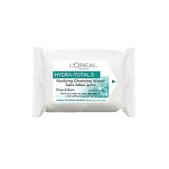 L'Oreal Paris Hydra Total 5 Purifying Cleansing Wipes Pack of 25 for Face and Eyes