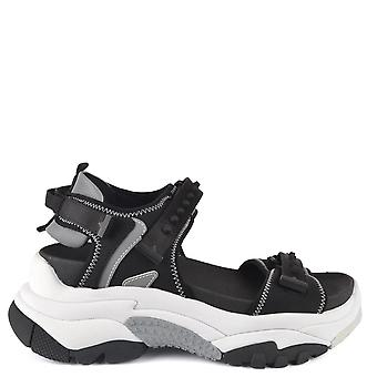 Ash ADAPT Trainer Sandals Black Satin