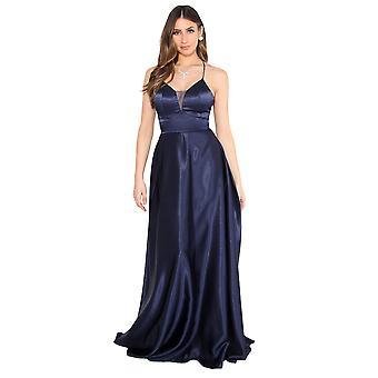 KRISP Women Ladies Strappy Maxi Dress Satin Evening Gown Wedding Cocktail Party Plus