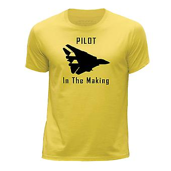 STUFF4 Boy's Round Neck T-Shirt/Funny Pilot In The Making/Yellow