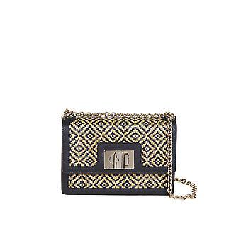 Furla 1065967 Women's Beige/black Leather Shoulder Bag