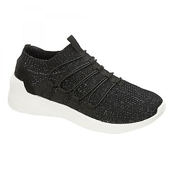 Cipriata Yvonne Ladies Stretch Slip On Casual Trainers Black Fleck