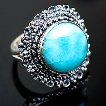 كبير لاريمار خاتم حجم 7.25 (925 الجنيه الاسترليني الفضة) -- اليدوية بوهو خمر مجوهرات RING1000249