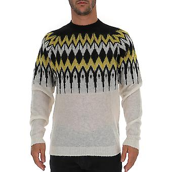 Laneus Mgu1248cc24var2 Men's White Wool Sweater