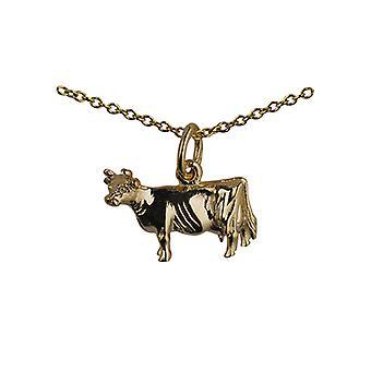9ct kultaa 11x16mm lehmän riipuksen kaapelilla ketjun 20 tuumaa
