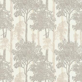 Erismann Countryside Forest Pattern Trees Wood Motif Textured Glitter Brown Bronze Wallpaper