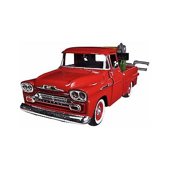 MotorMax American Classics - 1958 Chevy Apache Fleetside Pickup Wrecker Red 1:24