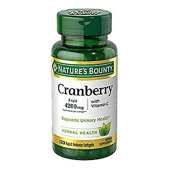 Nature's bounty cranberry, 4200 mg, vitamine c, gelcapsules, 120 ea