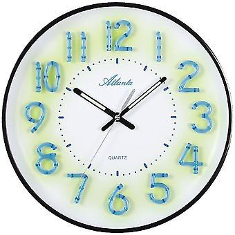أتلانتا 4459/7 الحائط ساعة كوارتز التناظرية الأسود الأبيض هادئة دون تكتكة