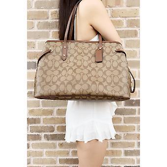 Coach f57842 signature drawstring carryall tote khaki brown satchel large