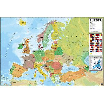 Map of Europe poster flags with Spanish labels Mapa de Europa 61 x 91.5 cm