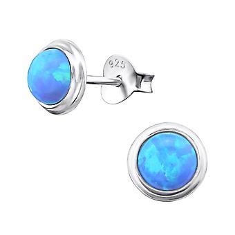Runde - 925 Sterling sølv Opal og Semi ædle øret knopper - W23625x