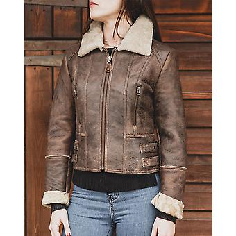 Nordvek Womens Sheepskin Jacket - Aviator Nappa Leather Bomber Coat # 707-100