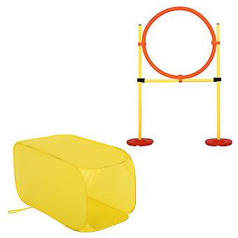 PawHut Pet Dogs Outdoor Games Agility Exercise Training Equipment Obedience Rehabilitation Jumping Ring Yellow Square Tunnel Agility