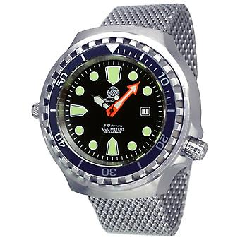 Tauchmeister T0285MIL automatic diving watch XXL with Milanese band